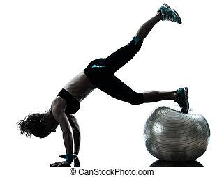 femme, balle, séance entraînement, fitness, exercisme