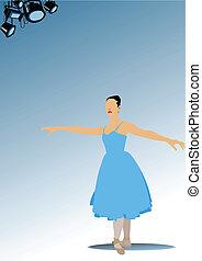 femme, ballet, illus, vecteur, dancers.