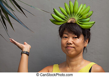 femme, banane