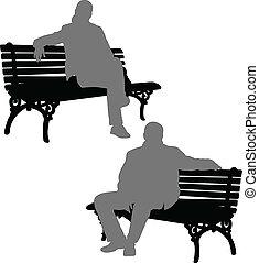femme, banc, séance homme