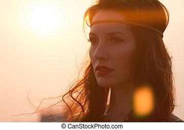 femme, bandeau, hippie