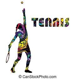 femme, bannière, coloré, joueur, tennis, silhouette