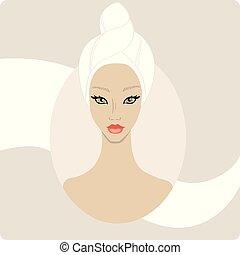 femme, bannière, towel., cheveux, main, emballé, garder, vecteur, conception, illustration., dessiné, spa, beau, gabarit