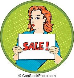 femme, bannière, vente