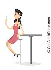 femme, bar.