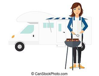 femme, barbecue., préparer