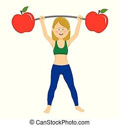 femme, barre, exercisme, jeune, pommes, haltère, heureux