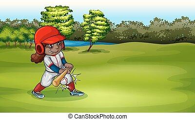 femme, base-ball, jeune, jouer