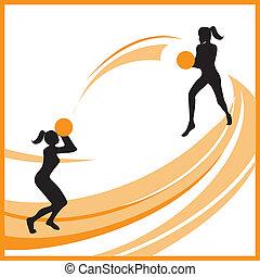 femme, basket-ball, vecteur