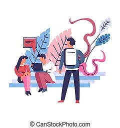 femme, bavarder, gens, blogger, ordinateur portable, dactylographie, homme