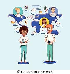 femme, bavarder, gens, média, connexion, social, mondiale, homme