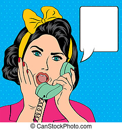 femme, bavarder, téléphone, sauter art, illustration