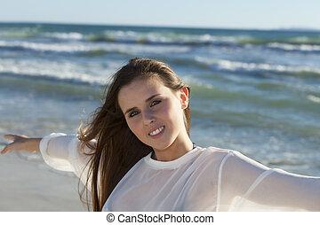 femme, beau, plage