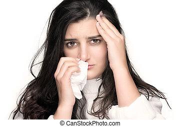 femme, beauté, allergie, grippe, jeune, malade, ou