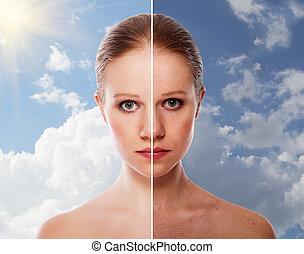 femme, beauté, après, effet, jeune, peau, guérison, procédure, avant