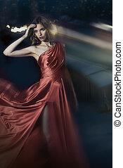 femme, beauté, battement des gouvernes, sexy, jeune, robe rouge