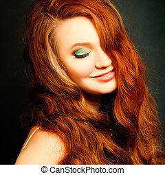 femme, beauté, bouclé, longs cheveux, ondulé, portrait., hair., modèle, mode, girl, rouges