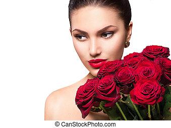 femme, beauté, bouquet, grand, roses, mannequin, rouges