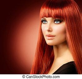 femme, beauté, figure, cheveux, portrait., modèle, girl, rouges