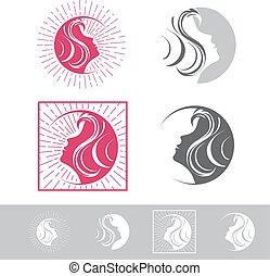 femme, beauté, figure, mettez stylique, logo