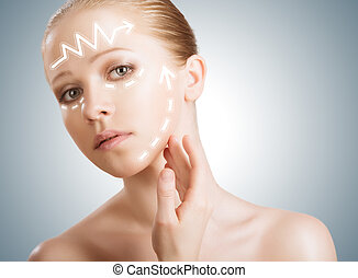 femme, beauté, flèches, jeune, skincare., concept, lifting, peau, chirurgie, plastique, rajeunissement