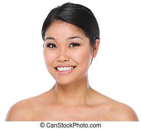 femme, beauté, isolé, brunette, asiatique, portrait, sourire, blanc