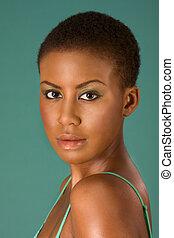 femme, beauté, jeune, américain, africaine, portrait
