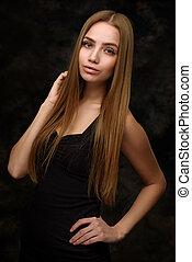 femme, beauté, jeune,  long, cheveux,  portrait
