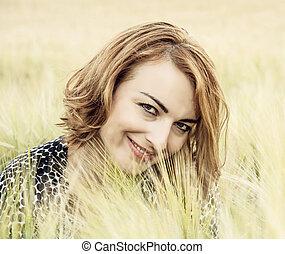 femme, beauté naturelle, nature, poser, champ, blé, joyeux