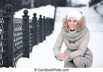 femme, beauté, neigeux, sur, jeune, séduisant, fond, portrait, noël