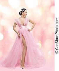 femme, beauté, portrait, dans, robe rose, à, sakura, fleur, fille asiatique, mode, robe, modèle