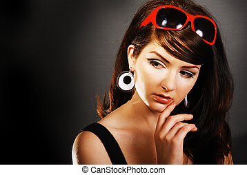 femme, beauté, /, retro, coup, froussard, 60, séduisant