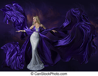 femme, beauté, robe pourpre, voler, créatif, tissu, soie, ...