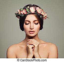 femme, beauté, sain, jeune, skincare, flowers., concept, peau, spa, modèle