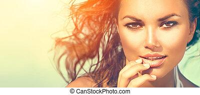 femme, beauté, soleil, soleil, chaud, portrait., sous, girl, plage, modèle