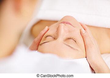 femme, beauté, sous, facial, professionnel, spa, masage