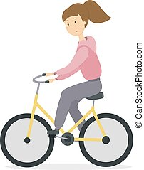femme, bicycle.