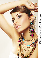 femme, bijouterie, mode