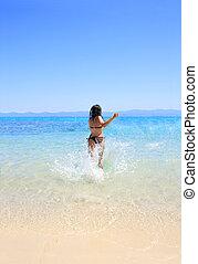 femme, bikini, bronzé, mer