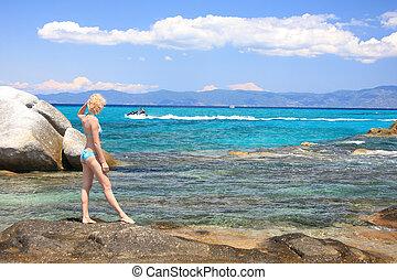 femme, bikini, mer
