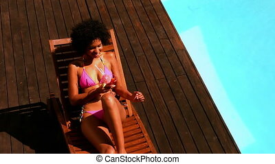 femme, bikini, rose, magnifique