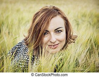 femme, blé, beauté, nature, poser, champ, naturel