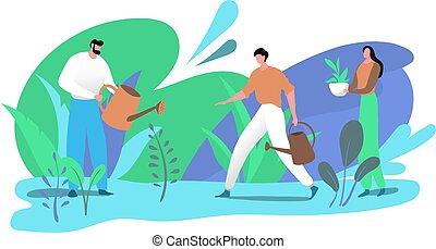 femme, blanc, développé, eau, ingrédients, illustration., isolé, vecteur, naturel, jardin, herbe, deux, produits de beauté, homme, herbier