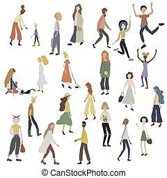 femme, blanc, foule, chien, marche, caractères, isolé, gens, chat, danse, debout, mâle, courant, shopping.