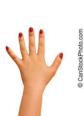 femme, blanc, isolé, fond, main