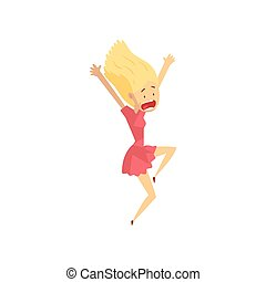 femme, blanc, jeune, choqué, vecteur, illustration, fond, émotif, girl, crier, effrayé, desperately, quelque chose