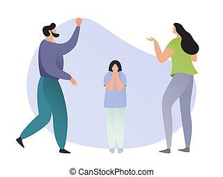 femme, blanc, mère, leur, enfant, réprimande, illustration., père, dessin animé, vecteur, famille, enfant, fond, garçon, homme