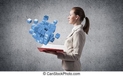 femme, bleu, géométrique, projection, cubes, 3d