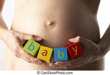 femme, blocs, pregnant, tenant bébé, orthographe