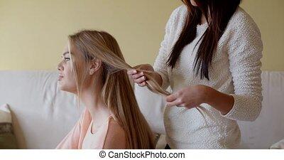 femme, blonds, elle, cheveux réparation, joli, ami